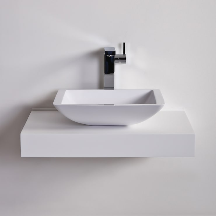 Lusso Stone Quadrato Square Solid surface stone resin counter top basin 425:  Bathroom by Lusso Stone
