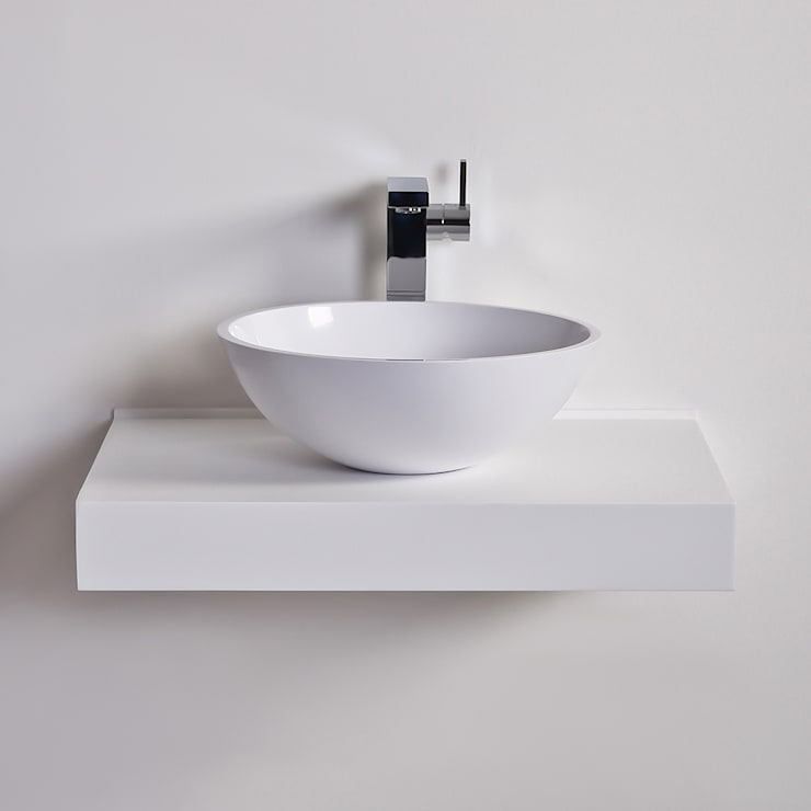 Lusso Stone Oasis Round Solid surface stone resin counter top basin 420:  Bathroom by Lusso Stone