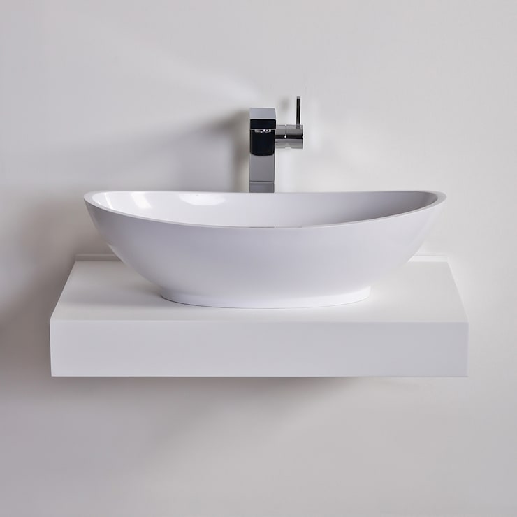 Lusso Stone Oasis Solid surface stone resin counter top basin 600:  Bathroom by Lusso Stone