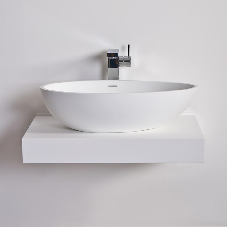 Lusso Stone Egg shell Solid surface stone resin counter top basin 600:  Bathroom by Lusso Stone
