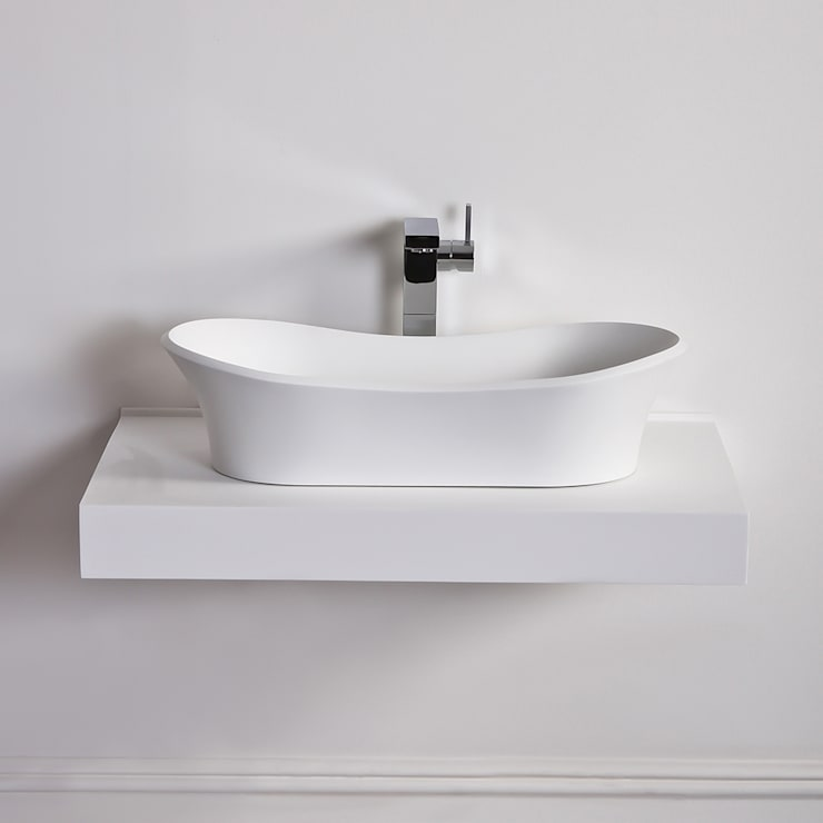 Lusso Stone Amalfi Solid surface stone resin counter top basin 660:  Bathroom by Lusso Stone