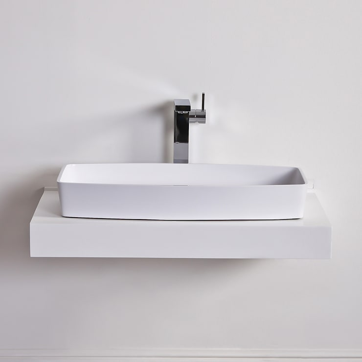 Lusso Stone Albert Solid surface shallow stone resin counter top basin 680:  Bathroom by Lusso Stone
