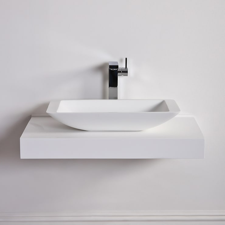 Lusso Stone Quadrato Solid surface stone resin counter top basin 600:  Bathroom by Lusso Stone