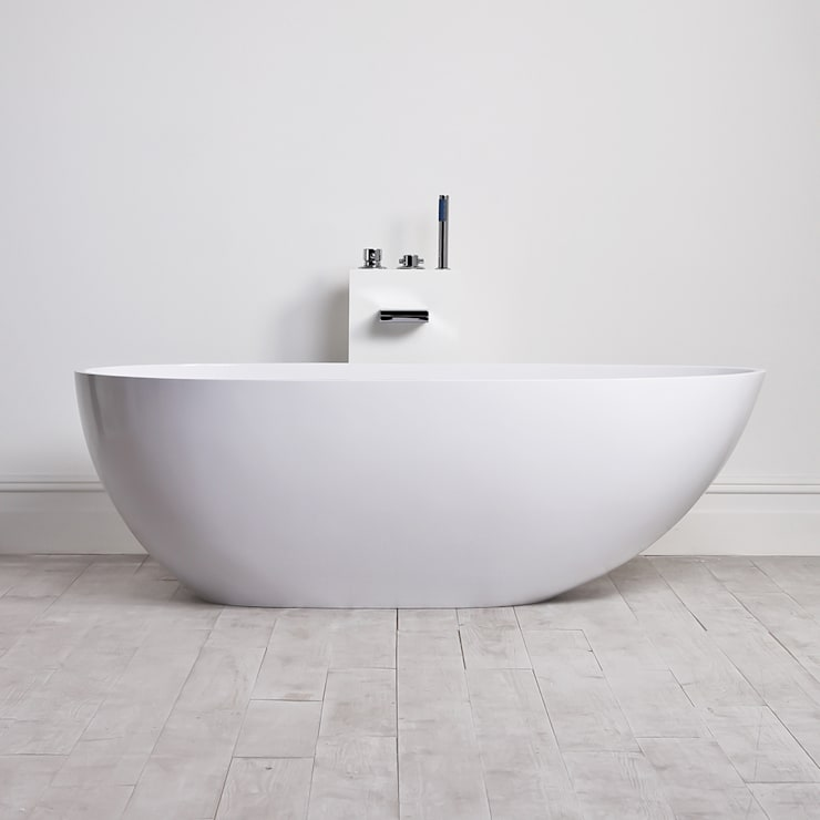 Lusso Stone Egg Shell Solid Surface Freestanding Stone Resin Bath 1700:  Bathroom by Lusso Stone