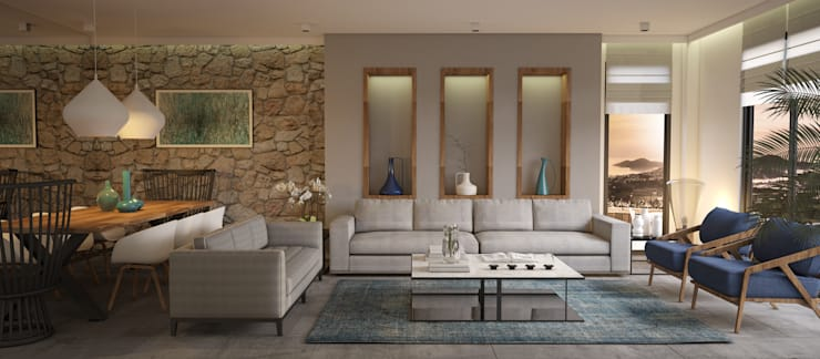 BODRUM YALIKAVAK SAKLIKORU : mediterranean Living room by Esra Kazmirci Mimarlik