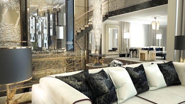 Интерьеры современного особняка в стиле ар-деко, Нью-Йорк, США: Гостиная в . Автор – Марина Анисович, студия NEUMARK