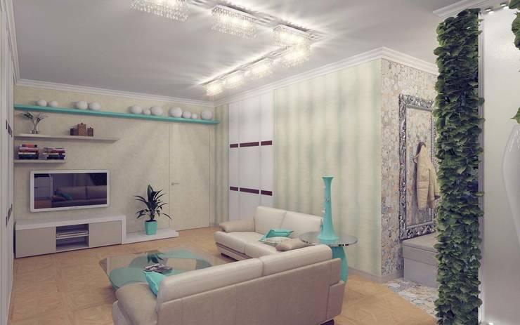 Бирюзовое очарование: Гостиная в . Автор – Студия дизайна интерьера 'Золотое сечение'