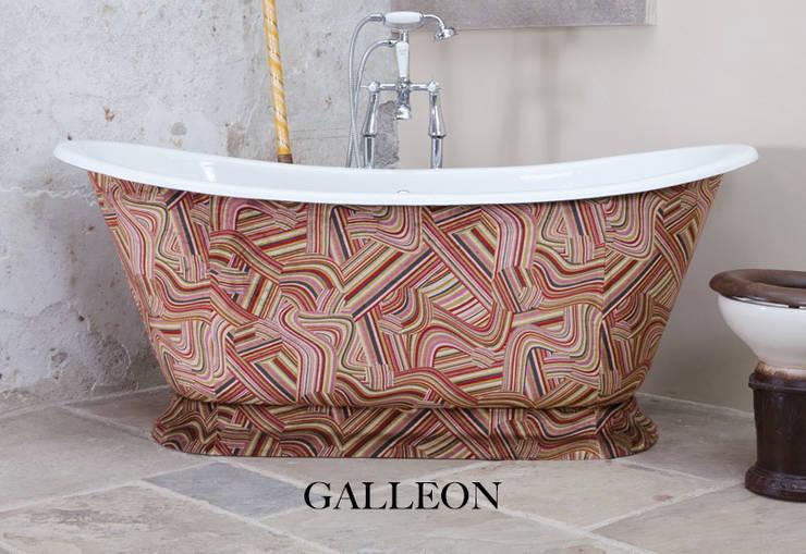 Galleon Cast Iron Bath Clad in Andrew Martin Vita Multi Fabric: classic Bathroom by Hurlingham Baths
