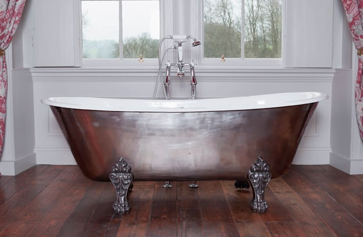 Schooner Cast Iron Bath with Hand Polished Exterior & Feet:  Bathroom by Hurlingham Baths