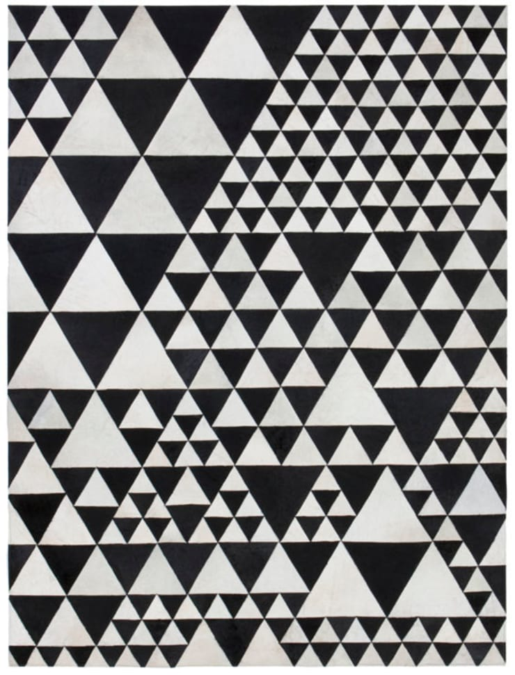 WovenGround Pyramid hand made leather rug in white-black:  Walls & flooring by WovenGround