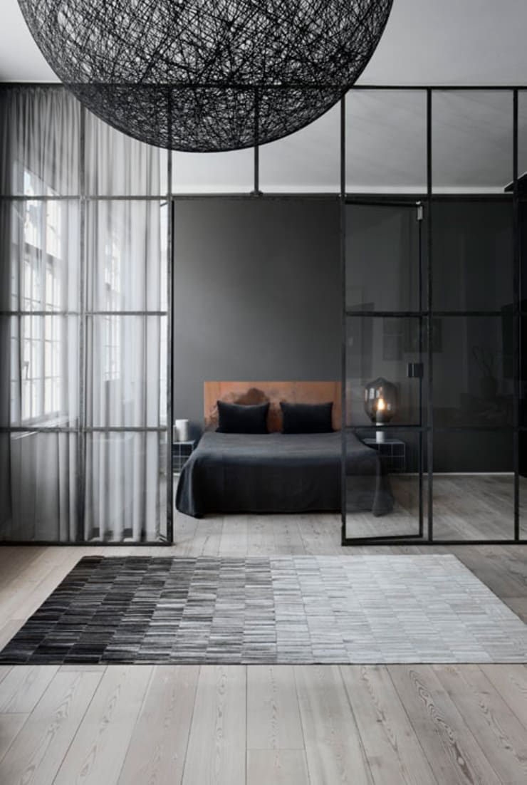 WovenGround Fade hand made leather rug - grey:  Walls & flooring by WovenGround