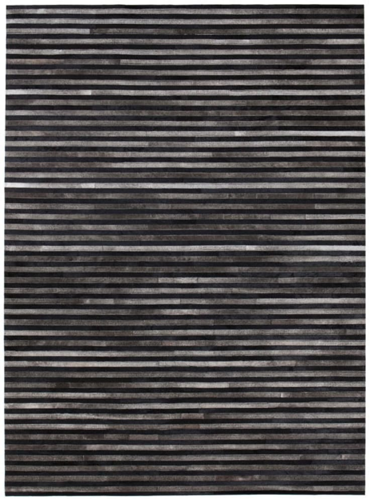 WovenGround Channel rug, hand made in leather - black:  Walls & flooring by WovenGround