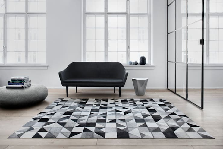 WovenGround Gallery hand made leather rug:  Walls & flooring by WovenGround