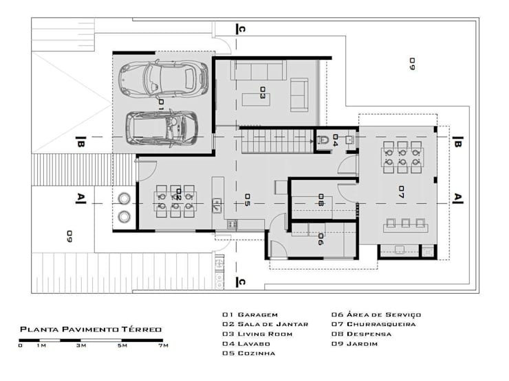Ground Floor Plan (Planta do pavimento térreo):   by Tony Santos Arquitetura