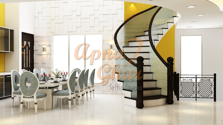 Drawing Room Interior Design:  Dining room by ApnaGhar.co.in