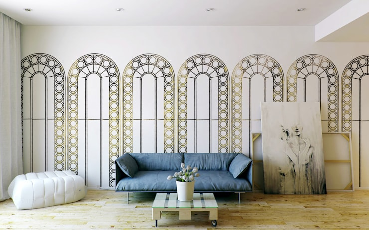 Palladian Metallic Wallpaper by CUSTHOM:  Walls & flooring by CUSTHOM