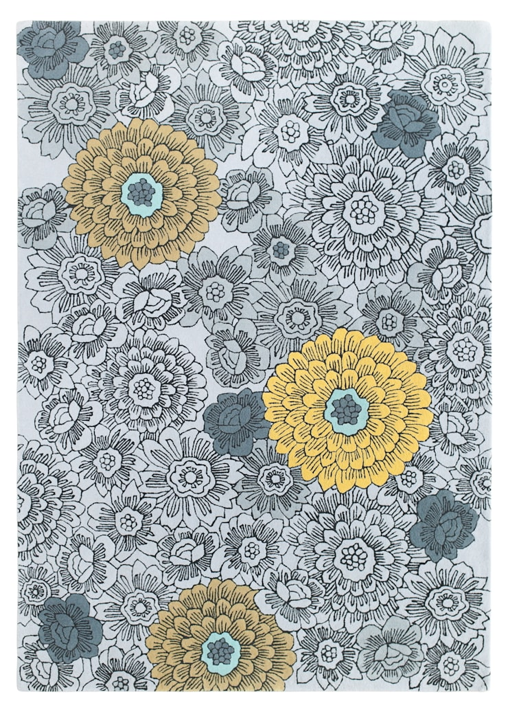 Ochre Florals rug by Wendy Morrison:  Walls & flooring by Wendy Morrison
