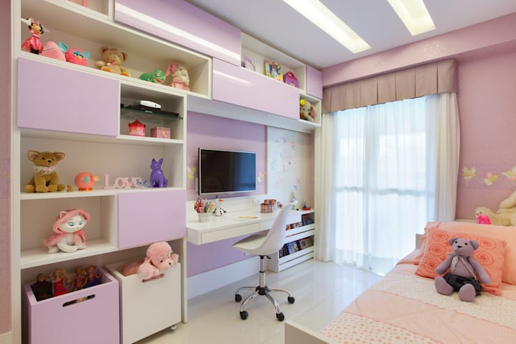Quarto Menina: Quarto infantil  por Amanda Miranda Arquitetura