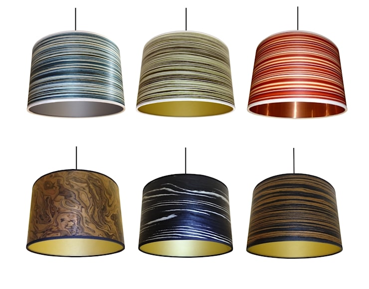 Drum wood veneer lampshades from Storm Furniture:  Living room by Storm Furniture