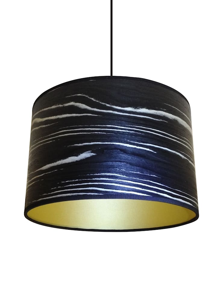 Black & white stripe veneer drum lampshade:  Living room by Storm Furniture