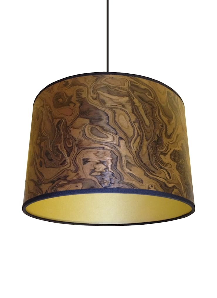 Dark burl wood veneer drum lampshade from Storm Furniture:  Living room by Storm Furniture