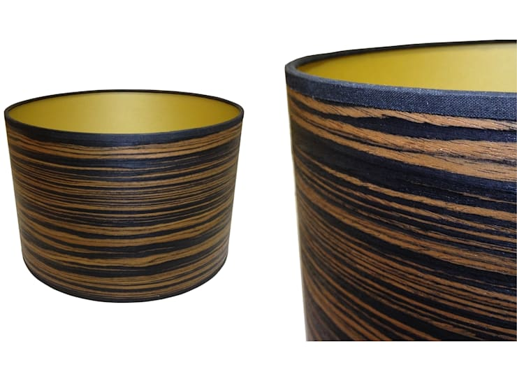 Dark stripe wood veneer drum lampshade from Storm Furniture:  Living room by Storm Furniture