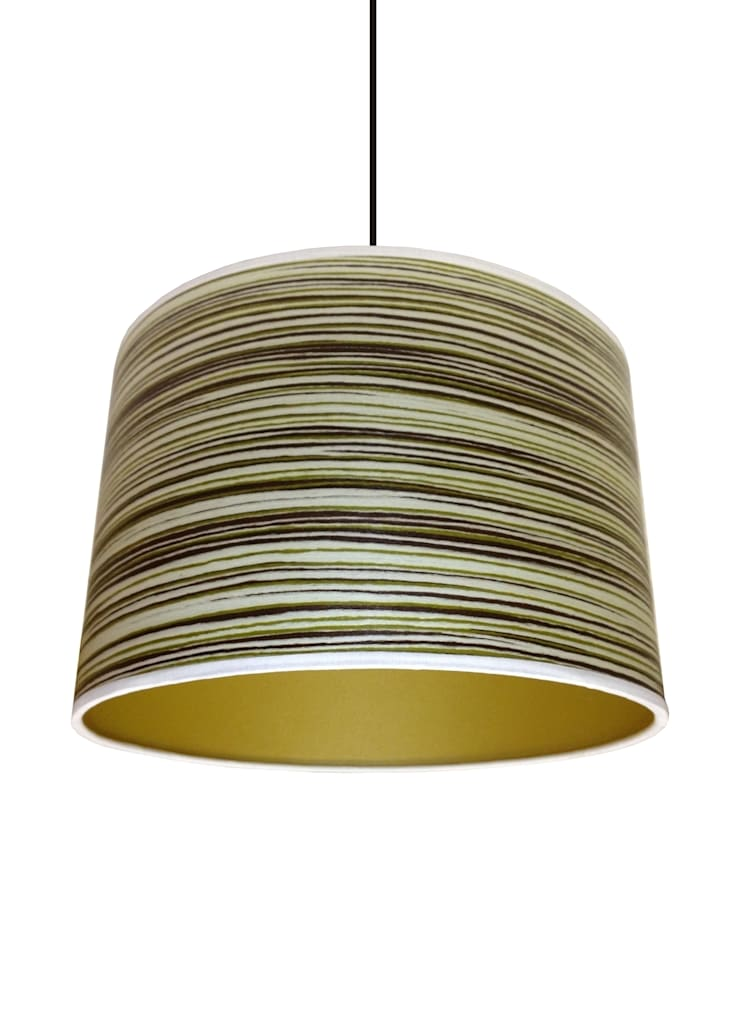 Green stripe wood veneer drum lampshade from Storm Furniture:  Living room by Storm Furniture