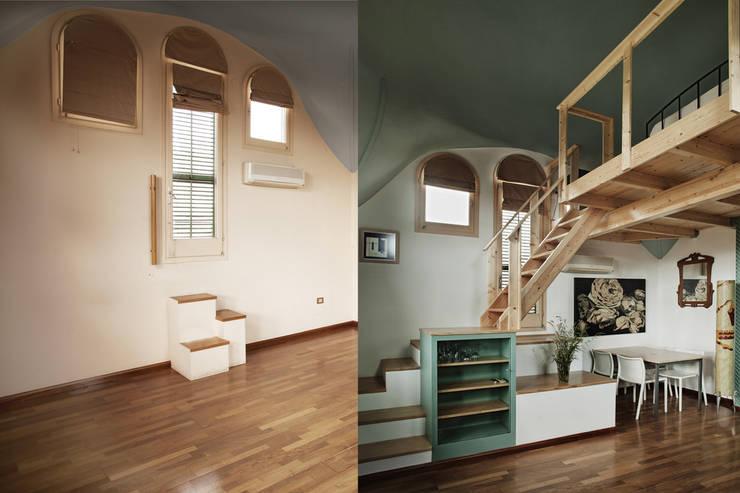 Antes y después. Mueble/escalera de acceso al altillo: Dormitorios de estilo  de mobla manufactured architecture scp