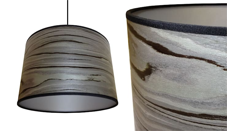 Grey stripe wood veneer drum lampshade from Storm Furniture:  Living room by Storm Furniture