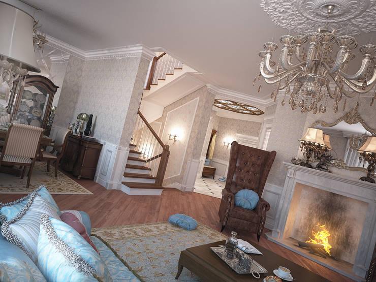 Дом с английскими мотивами: Гостиная в . Автор – премиум интериум