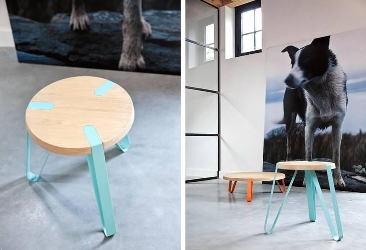 Level Cyaan en Oranje - Ø70cm - Hoogte 23cm + Ø40cm - Hoogte 45cm: modern  door DesignStudioVandaag, Modern