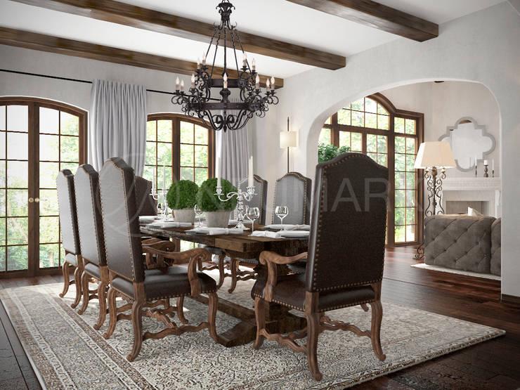 Ferrari Drive Residence, LA, USA: Столовые комнаты в . Автор – Марина Анисович, студия NEUMARK, Средиземноморский
