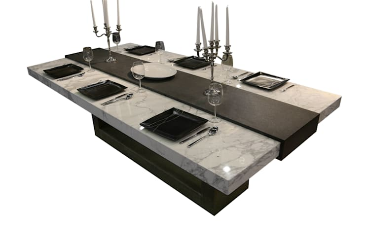 Stone Table:  Dining room by Ogle luxury Kitchens & Bathrooms