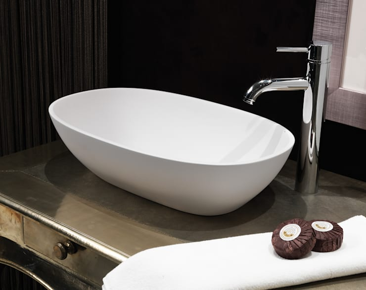 Dawn Stone Basin:  Bathroom by Waters Baths of Ashbourne