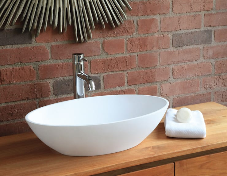 Ellipse Stone Basin:  Bathroom by Waters Baths of Ashbourne