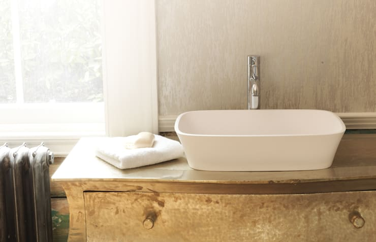 Haze Stone Basin:  Bathroom by Waters Baths of Ashbourne