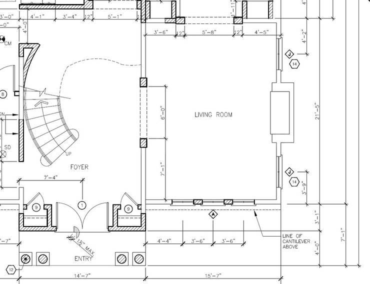 План/чертёж гостиной для дома на Suffolk Drive, LA, USA:  в . Автор – Марина Анисович, студия NEUMARK