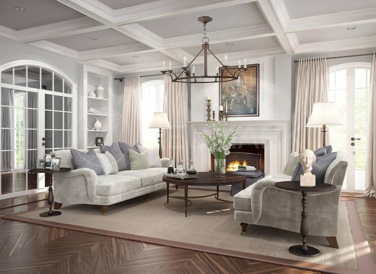 Интерьер гостиной для дома на Suffolk Drive, LA, USA: Гостиная в . Автор – Марина Анисович, студия NEUMARK