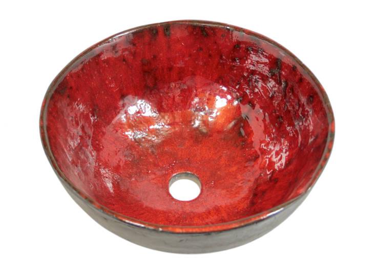 Okrągła nablatowa umywalka artystyczna: styl , w kategorii Łazienka zaprojektowany przez Florisa