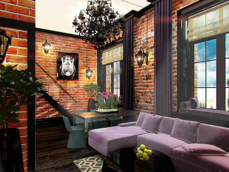 Квартира в стиле LOFT в Москве: Гостиная в . Автор – Anna Vladimirova