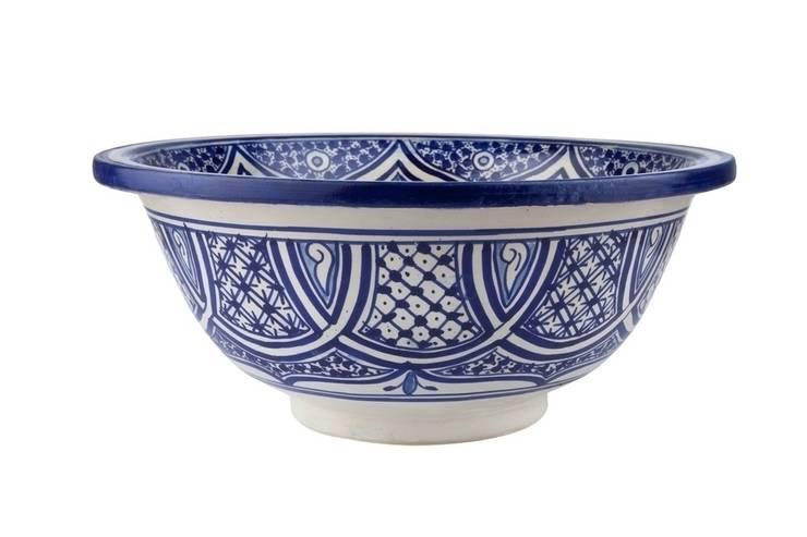 Fatima - Niebieska umywalka z Maroka: styl , w kategorii Łazienka zaprojektowany przez Kolory Maroka