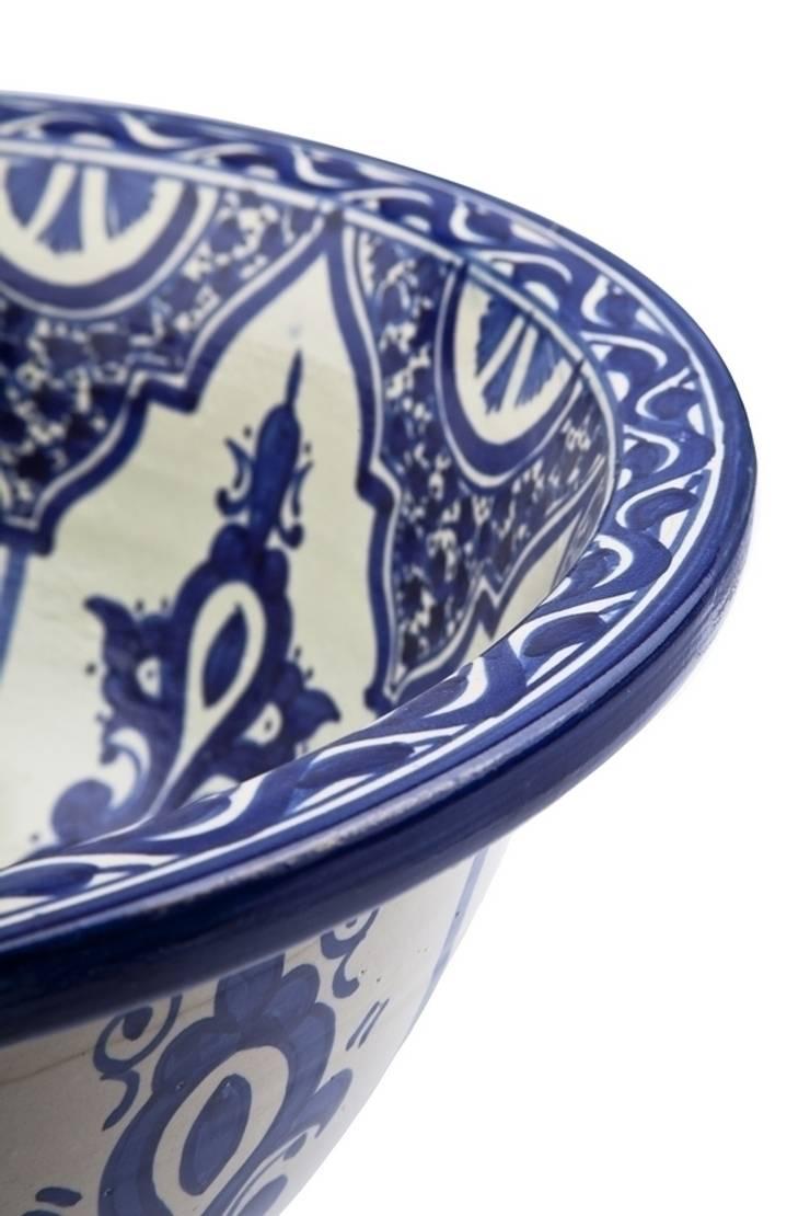 Reza - Arabska umywalka ceramiczna z Maroka : styl , w kategorii  zaprojektowany przez Kolory Maroka,Egzotyczny