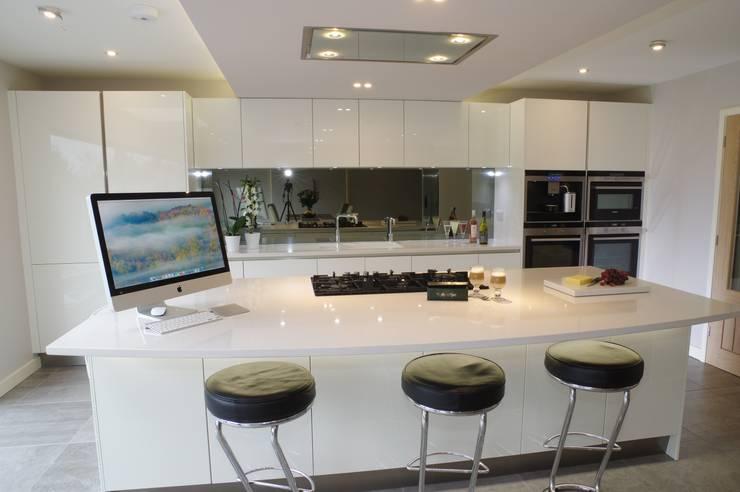 High gloss white :  Kitchen by PTC Kitchens
