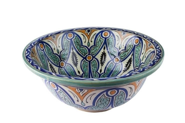 Ruqya - Wzorzysta umywalka designerska II: styl , w kategorii Łazienka zaprojektowany przez Kolory Maroka,