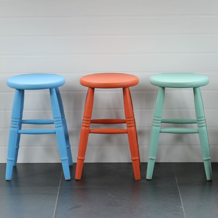 Hand Painted Low Stool:  Dining room by Rectory Blue
