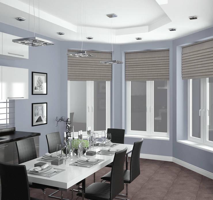 Кухня-столовая в частном доме: Столовые комнаты в . Автор – Yurov Interiors