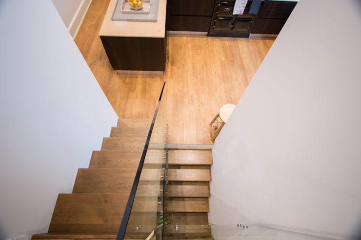 Floating Stairway what connects three Floors:  Corridor, hallway & stairs by Railing London Ltd