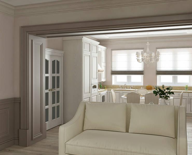 Интерьер гостиной-столовой: Гостиная в . Автор – Yurov Interiors