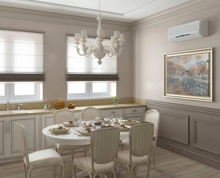 Интерьер гостиной-столовой: Столовые комнаты в . Автор – Yurov Interiors