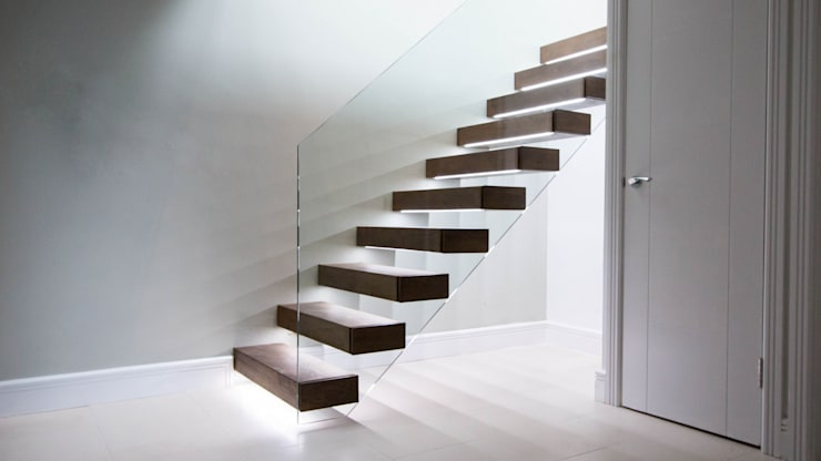 Walnut Floating Staircase : modern Corridor, hallway & stairs by Railing London Ltd